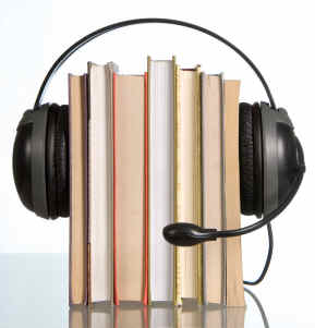 Audio books are voice recordings of people reading books – they used to be called 'books on tape', but now they mostly come on CD or even over the Internet as mp3 files